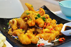 Seafood fried calamari. Seafood - Fried Calamari; deep-fried Squid in Chinese restaurant stock image