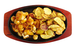 Seafood with Fried Potatoes Royalty Free Stock Photo
