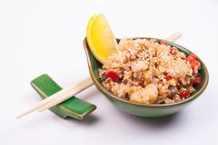 Seafood fried rice. In bowl isolated on white background Stock Photo