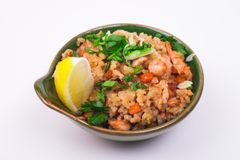 Seafood fried rice. In bowl isolated on white background Stock Image