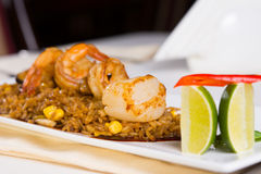 Seafood Fried Rice with Garnish Stock Photography