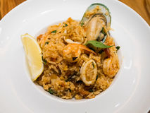 Seafood fried rice. On plate Stock Photo