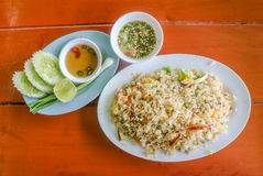 Seafood fried rice serves with fish sauce and vegetables Stock Photos