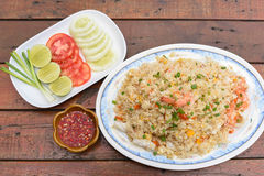 Seafood fried rice. A Seafood fried rice on the table Stock Image