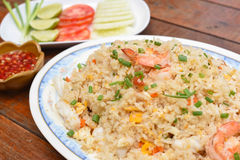 Seafood fried rice. A Seafood fried rice on the table Stock Photos