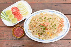 Seafood fried rice. A Seafood fried rice on the table Royalty Free Stock Photo