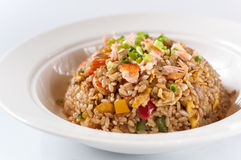 Seafood Fried Rice. In the white bowl Stock Photos