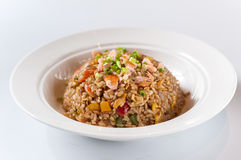 Seafood Fried Rice. In the white bowl Royalty Free Stock Photography