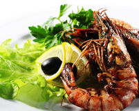 Seafood - Fried Shrimps Stock Photography