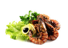 Seafood - Fried Shrimps Stock Photos