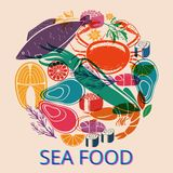 Seafood Graphic with Various Fish and Shellfish. Circular Seafood Graphic with Various Fish and Shellfish for Menu or Market Stock Photography