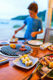Seafood at grill Royalty Free Stock Photo