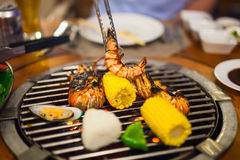 Seafood at grill Royalty Free Stock Photography