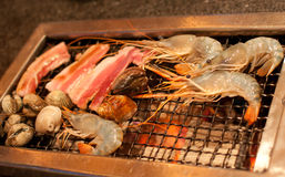 Seafood on the grill Stock Image