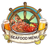Seafood Grill label design Stock Photo