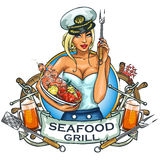 Seafood Grill label design Stock Photos