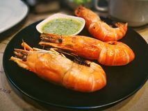 Seafood grilled prawhs. The seafood thailand Royalty Free Stock Photo