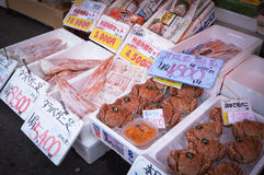 Seafood, Hakkodate morning market. Seafood at Hakodate morning market. Hakkodate, Hokkaido Japan. that place can get fresh seafood especially crab, scallops Stock Image