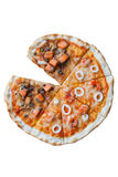 Seafood half Salmon Pizza Royalty Free Stock Image