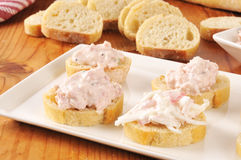 Seafood and ham appetizers Royalty Free Stock Photo