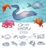 Seafood Hand Drawn Concept Stock Images