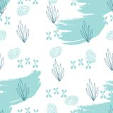 Seafood hand drawn seamless pattern. Hand drawn Doodle Sea nautical seamless pattern with fish and shells on grunge brush texture. Underwater illustration Stock Photos