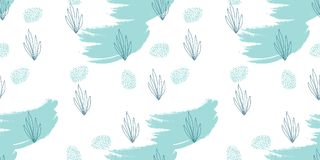 Seafood hand drawn seamless pattern. Hand drawn Doodle Sea nautical seamless pattern with fish and shells on grunge brush texture. Underwater illustration Royalty Free Stock Images