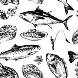 Fish seamless pattern. Seafood hand drawn seamless pattern on white background. Doodle of healthy nutrient food. Engraving sketch etch line. Food texture. Vector Royalty Free Stock Photography
