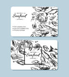 Seafood hand drawn vector business card. Crab, lobster, shrimp, oyster, mussel, caviar and squid. Engraved style vintage template. Fish and sea food restaurant stock illustration