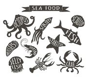 Seafood hand drawn vector illustrations isolated on white background, elements for restaurant menu design, decor, label. Stock Photos