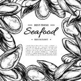 Seafood hand drawn vector mussel and oyster framed illustration. Engraved style vintage template. Stock Images