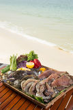 Seafood. Healthy seafood with beautiful design by the sea at Sokha Beach hotel and resort, Sihanouk Ville, Cambodia in Happy Khmer New Year Stock Images