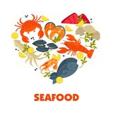 Seafood vector symbols of fish dishes. Seafood heart poster of fresh fish catch for sea food symbols for restaurant or fisher market. Vector lobster crab and Stock Photo