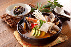 Seafood hot pot of overture jangjeongsik with blue mussel, clams Royalty Free Stock Photos