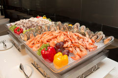 Seafood on ice at the fish market. Stock Images