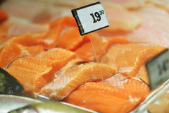 Seafood on ice at the fish market.  Stock Photos