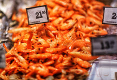 Seafood on ice at the fish market.  Royalty Free Stock Images