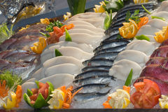 Seafood on ice at the fish market, bream and squid Stock Image