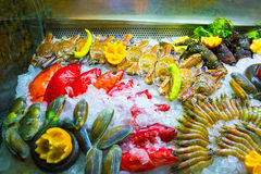 Seafood on ice at the fish market. The fresh seafood on ice at the fish market Royalty Free Stock Image