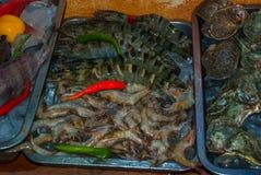 Seafood on ice at the fish market. Boracay, Philippines Stock Photo