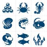 Seafood icon set Royalty Free Stock Image