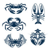 Seafood icon set with crab and lobster. Crab and lobster marine animal icon set. Seafood symbol of fresh crab and crayfish for fish market, sea fishing and Stock Images