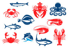 Seafood icon set with fish and crustacean Stock Images