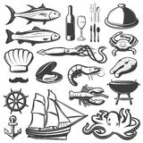 Seafood Icon Set. With fish and vine which are prepared in restaurant vector illustration Royalty Free Stock Photos