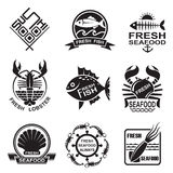 Seafood icon set Stock Image