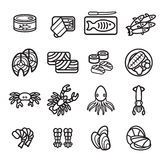 Seafood icon set. Vector eps 10. Stock Photo