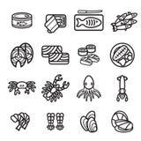Seafood icon set. Vector eps 10. Stock Photo