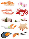 Seafood icons Royalty Free Stock Photos