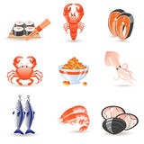 Seafood icons. Set of 9 glossy seafood icons vector illustration