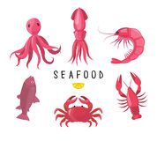 Seafood icons collection. Vector illustration. Seafood platter - crab, lobster, fish, octopus, shrimp, crayfish. Pink Stock Photos